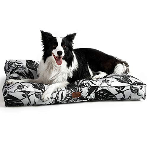 Bedsure Hundekissen Grosse Hunde waschebar - Hundebett Wasserdicht XXL für große, mittelgroße Hunde gepolstert Hundematte Blätter in 10cm Höhe, 110x90cm