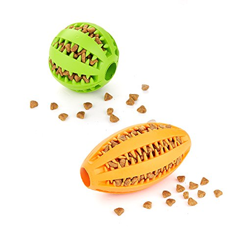 AMATHINGS Doppelpack (=2 Stck) Hundespielzeug Ball in Blau und Ei in Orange in Premiumqualitt Snackball (7 cm) und Rugbyball (11 cm) zur Zahnpflege und Spiel