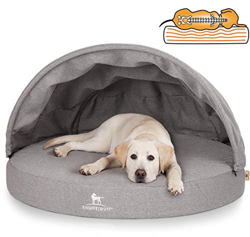 Knuffelwuff Orthopädisches Hundebett, Hundehöhle mit stabilem Dach, Jaimie, 80 cm Durchmesser, grau