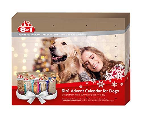 8in1 Adventskalender für Hunde mit 24 leckeren Überraschungen (verschiedene Leckerlis, Kaustangen und Snacks)