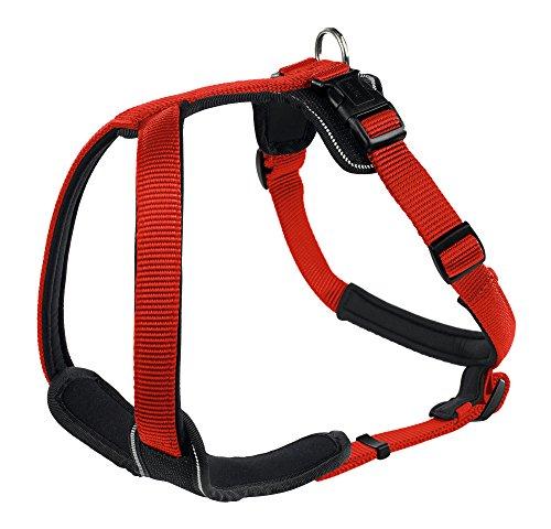 HUNTER NEOPREN Hundegeschirr, Nylon, gepolstert mit Neopren, für Sport und Freizeit, rot/schwarz, Nylon, Neopren, M-L (60-76)