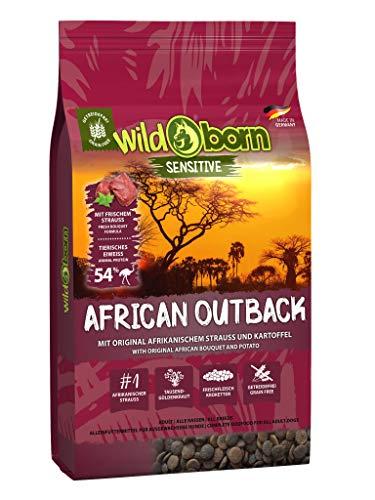 Wildborn Getreidefreies Hundefutter mit Straußenfleisch African Outback 15 kg   Gesundes Trocken-Futter mit hohem Fleisch-Anteil auch bei Allergie mit Kartoffeln ohne Mais und Weizen   Tier-Futter