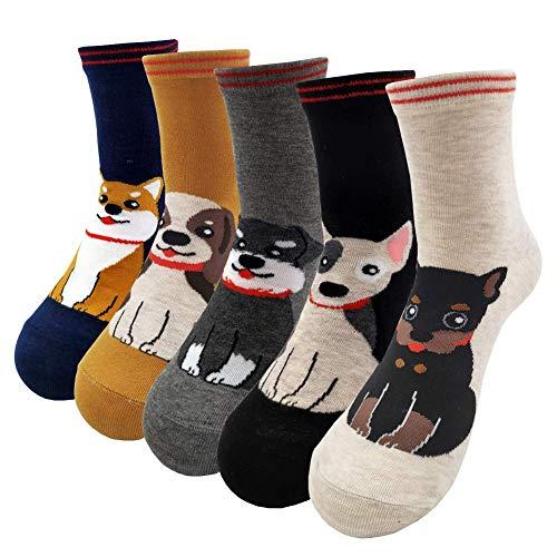 TUKNON Socken Damen, Warme Socken Damen, Sneaker Socken, Mädchen Socken, Wollsocken, Socken aus Baumwolle Tier Charakter Design, Atmungsaktiv Komfortable Boden Socken, 5 Paar (Mehrfarbig-03)