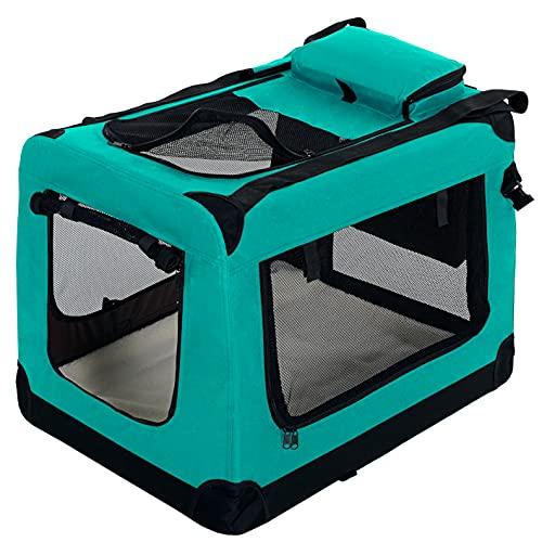PET VIOLET Transportbox Hundebox Faltbar Katzenbox Hunde Tragetasche 70x52x50 cm, Grün