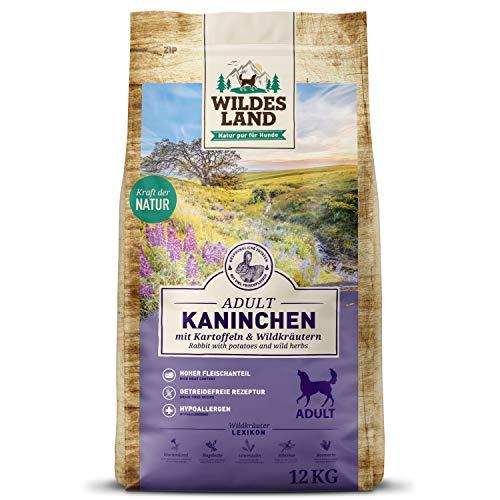 Wildes Land | Nr. 4 Kaninchen | 12 kg | mit Kartoffeln und Wildkräutern | Glutenfrei & Hypoallergen | Trockenfutter für Hunde | Hundefutter mit hohem Fleischanteil | Hohe Verträglichkeit