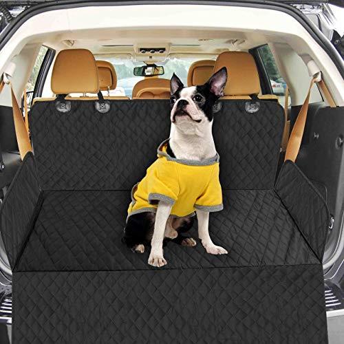 Bonve Pet wasserdichte Hunde Autoschondecke mit Seitenschutz & Reißverschlüsse, Hundedecke für Auto Rückbank, Kratzfest, rutschfeste Hundedecke mit Sicherheitsgurt und Handtashce für Auto/Van/SUV