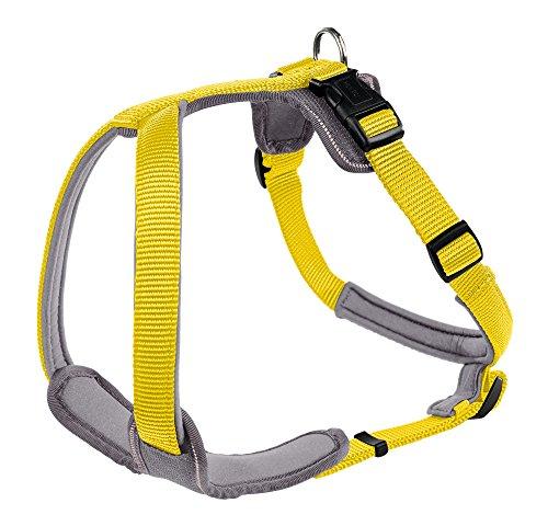 HUNTER NEOPREN Hundegeschirr, Nylon, gepolstert mit Neopren, für Sport und Freizeit M, gelb/grau