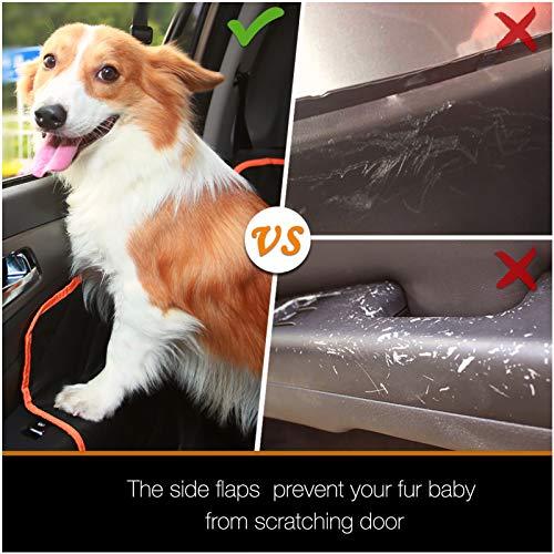 iBuddy Hundedecke für Auto Rücksitz, wasserdichtes Autoschondecke Kratzfest rutschfest Abriebfest mit Sicherheitsgurt, Rücksitzbezüge für Auto/Van/SUV (54' W x 58' L, schwarz mit orange)