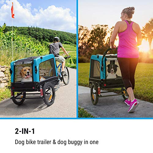 Klarfit Husky Vario 2-in-1 Hundeanhänger & Hundebuggy, ca. 240 Liter Volumen, Material: 600D Oxford Canvas, SmartSpace Concept, maximale Belastbarkeit: 40 kg, Farbe: blau