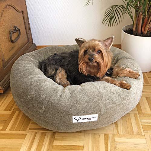 JAMAXX Super-Soft Donut Hundebett Flauschige Weiche Komfort-Polsterung Hundekörbchen Waschbar Hundekorb PDB2083 (M) grau