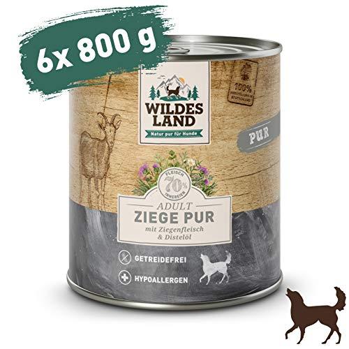 Wildes Land | Ziege PUR | 6 x 800 g | Mit Distelöl | Nassfutter für Hunde | Hoher Fleischanteil | Hypoallergen | Getreidefrei und Glutenfreies Hundefutter