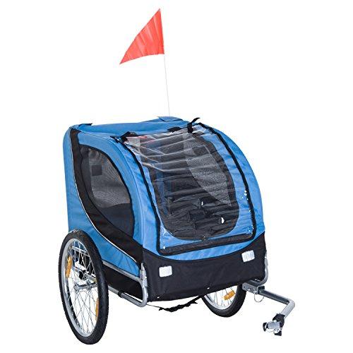 Pawhut Hundeanhänger Fahrradanhänger Hundetransporter Hunde Fahrrad Anhänger Blau+Schwarz 130 x 73 x 90 cm