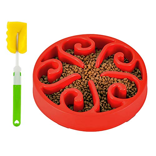 SlowTon Anti-Schling Napf mit Reinigungsbürste, Reisenäpfe Hundenapf Katzennapf, Anti Schling für die langsame Fütterung, Interaktive Napf, Umweltfreundlicher, langlebiger, ungiftiger Hundenapf (Rot)