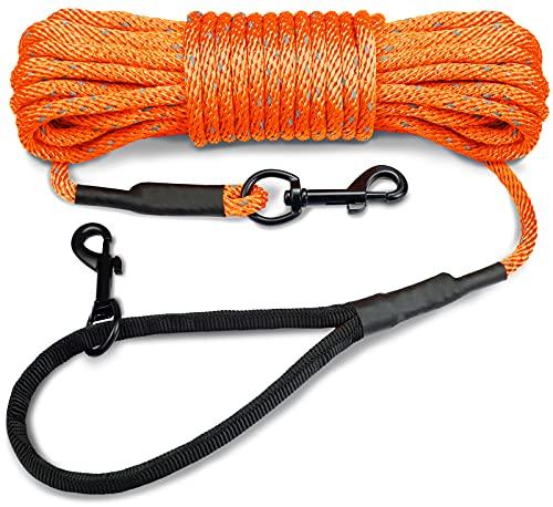 Joytale Reflektierend Schleppleine für Hunde, 15m Hundeleine mit Gepolsterten Griff und 2 Karabinerhaken, Nylon Lange Seil Trainingsleine für Welpen, Kleine Hunde, Orange
