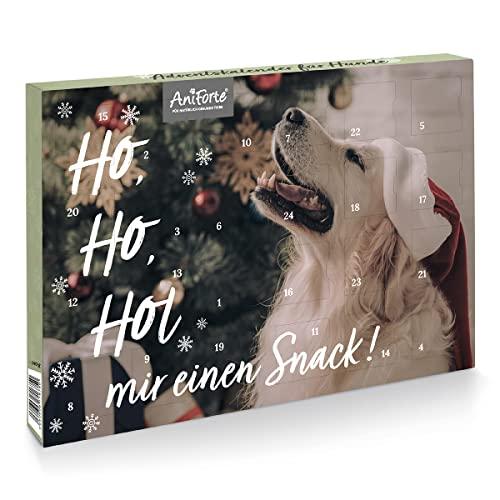 AniForte Adventskalender für Hunde 2021 - Natürliche Hundesnacks getreidefrei | Adventszeit Snacks | Leckerli ohne Farb- und Konservierungsstoffe | Weihnachtskalender mit Zellstoff-Einlage
