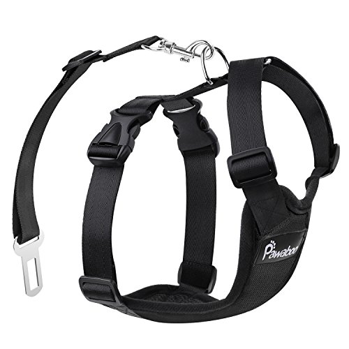 Pawaboo Hundegeschirr für Auto, Luftdurchlässig Hunde Geschirr mit Verstellbar Sicherheitsgurt und Universalstecker, passend für alle Hunderassen und Meisten Autotypen M-Groß, Schwarz