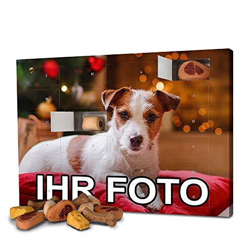 printplanet - Hunde-Adventskalender mit eigenem Foto personalisiert - mit Hunde Leckerlis gefüllt - Weihnachtskalender für Hunde - 2021