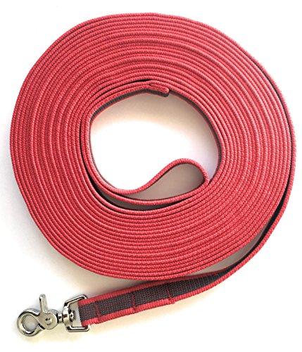 DOGS and MORE - Gummierte Schleppleine MIT oder OHNE Handschlaufe = 5 ODER Meter in Rot (10 Meter MIT Handschlaufe)