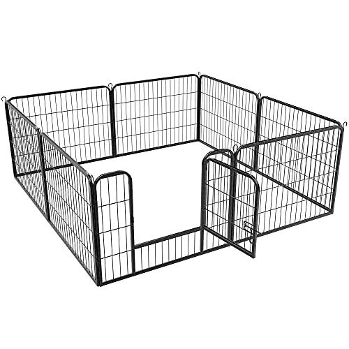 Yaheetech 8-TLG Welpenlaufstall Freilaufgehege mit Tür Laufstall für Hunde/Kaninchen/Kleine Haustiere je 80 cm x 60 cm