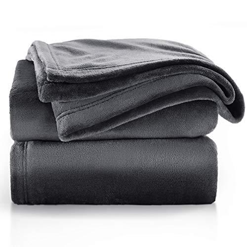 BEDSURE Decke Sofa Kuscheldecke dunkelgrau - XL Fleecedecke für Couch weich und warm, Wohndecke flauschig 150x200 cm als Sofadecke Couchdecke