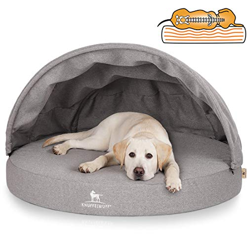 Knuffelwuff Orthopädisches Hundehöhle Hundebett mit stabilem Dach Jaimie Ø 80cm grau