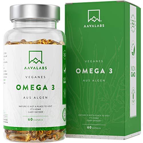 Algenöl Omega 3 Vegan [1100 mg ] - 300 EPA and 600 DHA pro Tagesdosis - 100% pflanzlich Omega 3 Algenöl - Unterstützt normale Gehirnleistung & Sehkraft - 120 Vegan Omega 3 Kapseln Hochdosiert