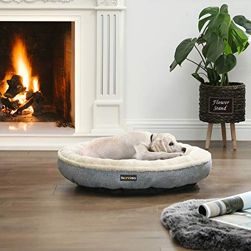FEANDREA Hundebett, Hundekorb, Katzenbett, Donut, rund, Ø 65 cm, grau PGW65G