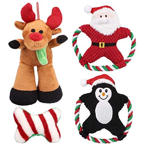 4 Hundespielzeuge im Weihnachts-Design
